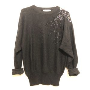 Vintage Beaded & Sequin Oversized Sweater Blk M